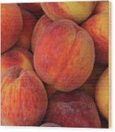 A Heap Of Ripe Peaches Prunus Persica Wood Print