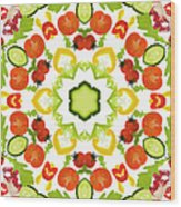 A Kaleidoscope Image Of Salad Vegetables Wood Print
