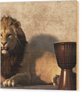 A Lion Among Drums Wood Print