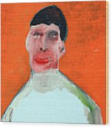 A Man With An Orange Background Wood Print