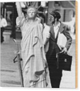 A Model Of Lady Liberty Was Being Sold Wood Print