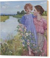 A Mother And Child By A River With Wild Roses 1919 Wood Print