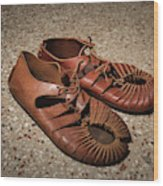 A Pair Of Roman Sandals Made Of Leather Wood Print