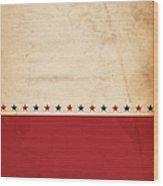 A Patriotic, Vintage Design With Stars Wood Print