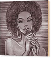 A Pencil Sketch Of A Female Singer With Wood Print