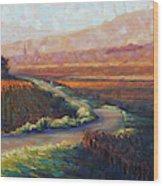 Burgundy Autumn art print Wood Print