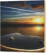 A Rock Pool On The Beach At Sunset Wood Print