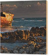 A Rusting Wreck, An Abandoned Ship Off Wood Print