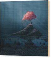 A Single Pink Tree In A Dark Blue Wood Print