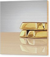A Stack Of Four Gold Ingots Wood Print