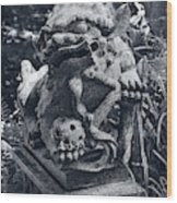 A Stone Gargoyle In The Woods Wood Print