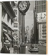 A Street Clock On Fifth Ave., Nyc Wood Print