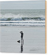 A Surfer Watches The Waves Before Wood Print