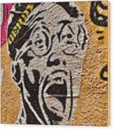 A Terrified Face On A Barcelona Wall  Wood Print