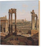 A View Of The Forum Romanum Wood Print