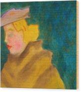 A Woman In A Fur Wood Print