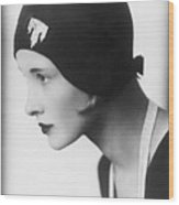 A Woman Modeling A Cloche Wood Print