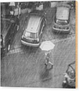 A Woman Rushes To Cross The Street Wood Print