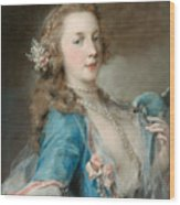 A Young Lady With A Parrot Wood Print