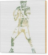 Aaron Rodgers Green Bay Packers Water Color Pixel Art 10 Wood Print