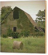 Abandoned Barn And Hay Roll 2018d Wood Print