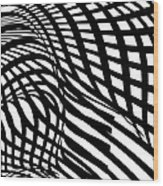 Abstract Black And White Stripe Shape Wood Print