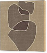 Abstract Composition In Brown And Tan - Modern, Minimal, Contemporary Print - Earthy Abstract 3 Wood Print