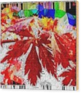 Abstract Fall Acer Stained Glass  Wood Print