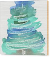 Abstract Fir Tree Christmas Watercolor Painting Wood Print