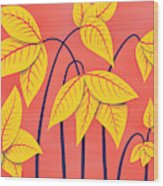 Abstract Flowers Geometric Art In Vibrant Coral And Yellow  Wood Print