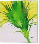 Abstract Ink Yellow Flower Wood Print