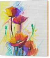 Abstract Oil Painting Of Spring Flower Wood Print