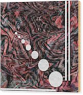 Abstract Painting - Flow 2 - Fluid Painting - Red, Black Abstract - Geometric Abstract - Marbling 2 Wood Print