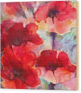 Abstract Poppies Wood Print