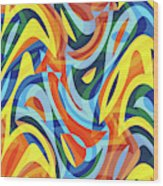 Abstract Waves Painting 007176 Wood Print
