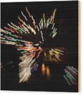 Abstracted Christmas - Luminous Fairy Lights Patterns Wood Print