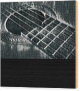 Acoustic Guitar Musician Player Metal Rock Music Black Wood Print