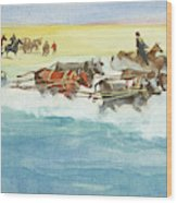 Action From A Ten Thousand Mile Motor Race Wood Print
