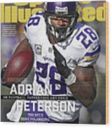 Adrian Peterson Exclusive On Football. Fatherhood And Exile Sports Illustrated Cover Wood Print