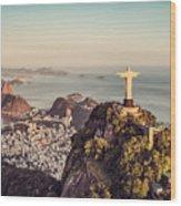 Aerial Panorama Of Botafogo Bay And Wood Print
