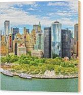 Aerial Panorama Of Downtown New York Skyline Wood Print