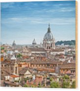 Aerial Panoramic Cityscape Of Rome Wood Print