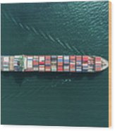 Aerial Top View Container Ship Full Wood Print