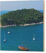 Aerial View Of Boat Near Phuket Island Wood Print