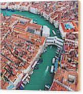 Aerial View Of Grand Canal And Rialto Bridge, Venice, Italy Wood Print