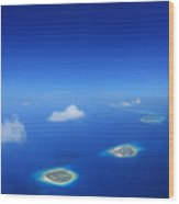Aerial View Of Maldives Islands In Wood Print