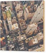 Aerial View Of Midtown Manhattan At Wood Print