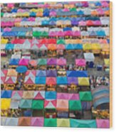 Aerial View Of Multiple Color Roof To Wood Print