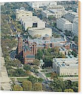 Aerial View Of Museums On The South Side Of The National Mall In Wood Print