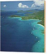 Aerial View Of Shoreline Wood Print